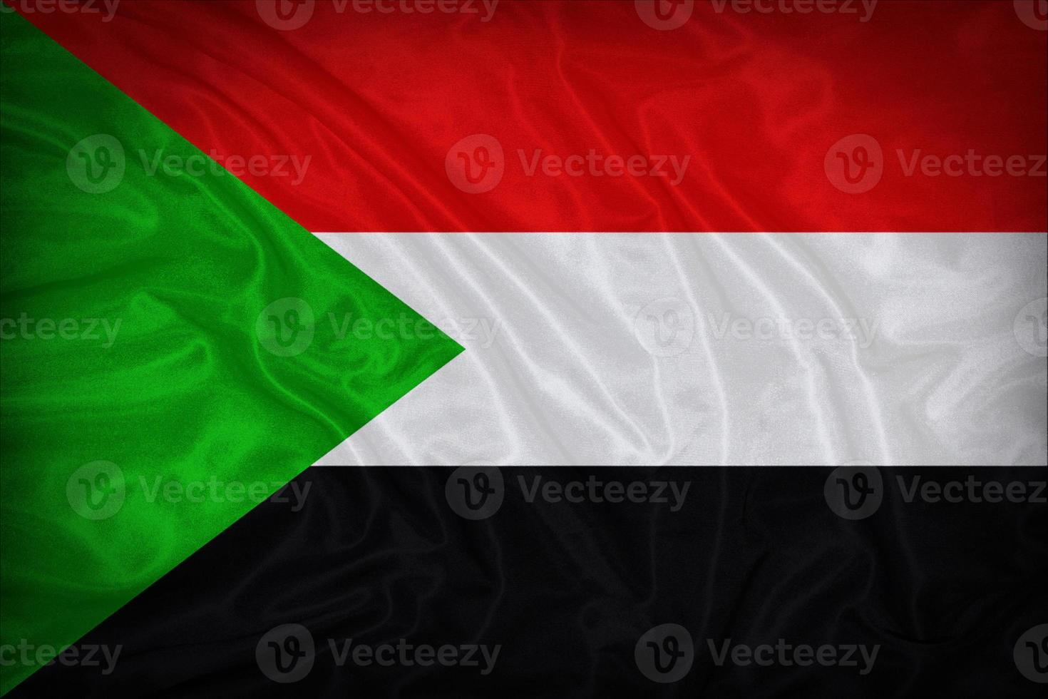 Sudan-Flaggenmuster auf der Stoffstruktur, Weinlesestil foto