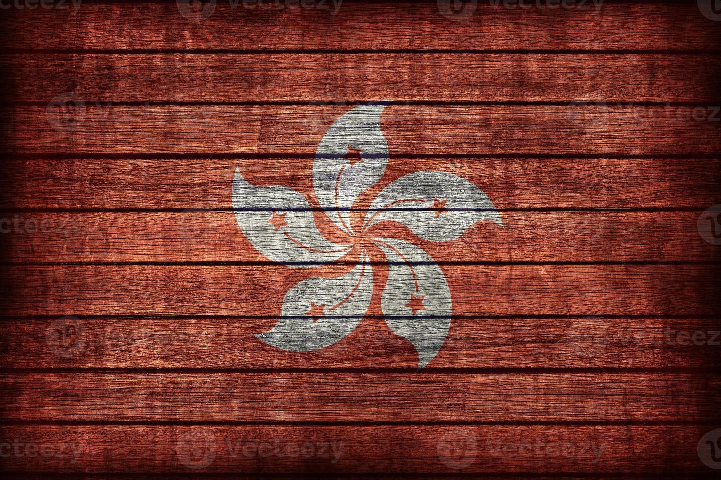 Hong Kong Flag Muster auf Holzbrett Textur foto