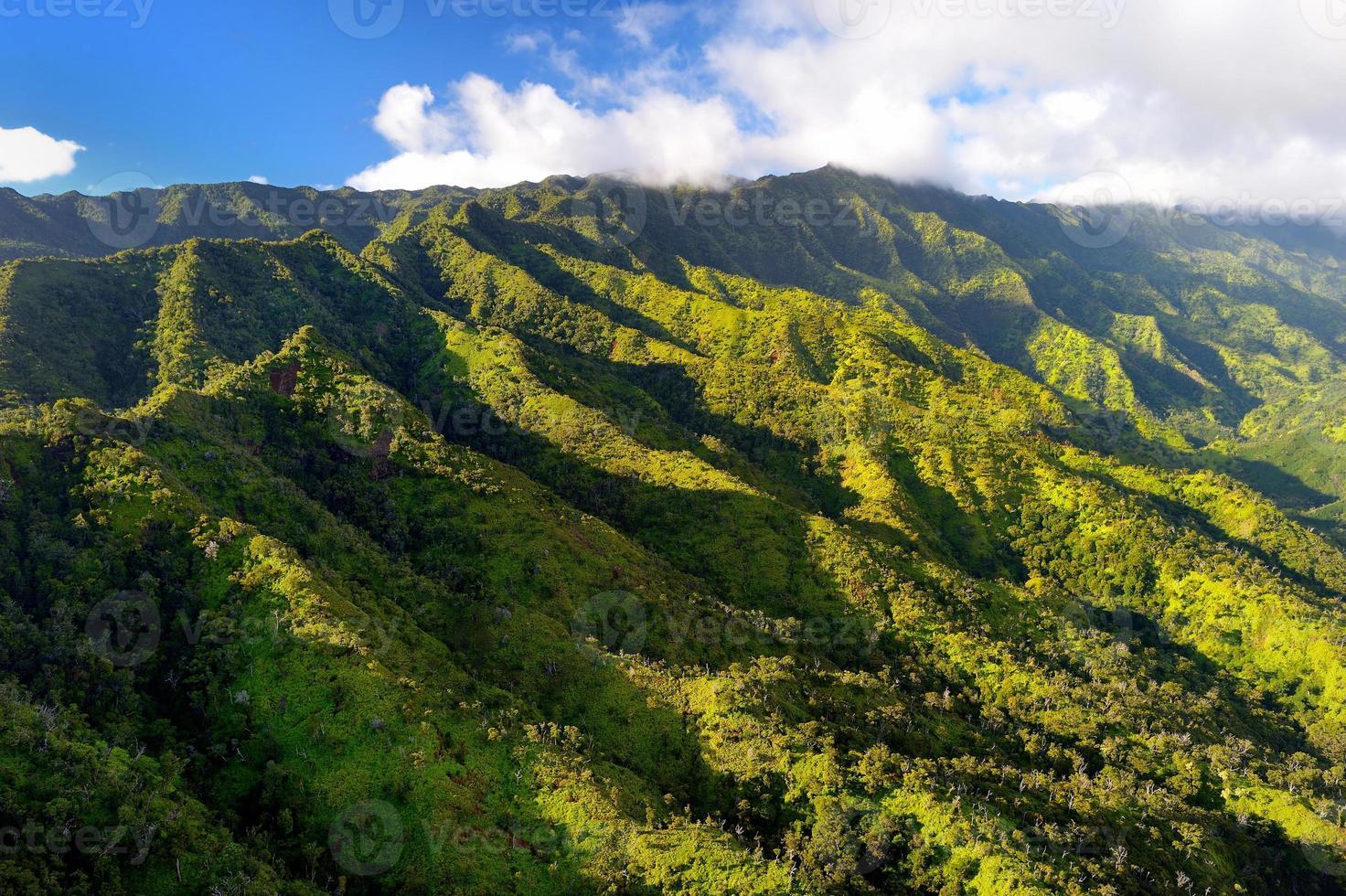 atemberaubende Luftaufnahme von spektakulären Dschungeln, Kauai foto