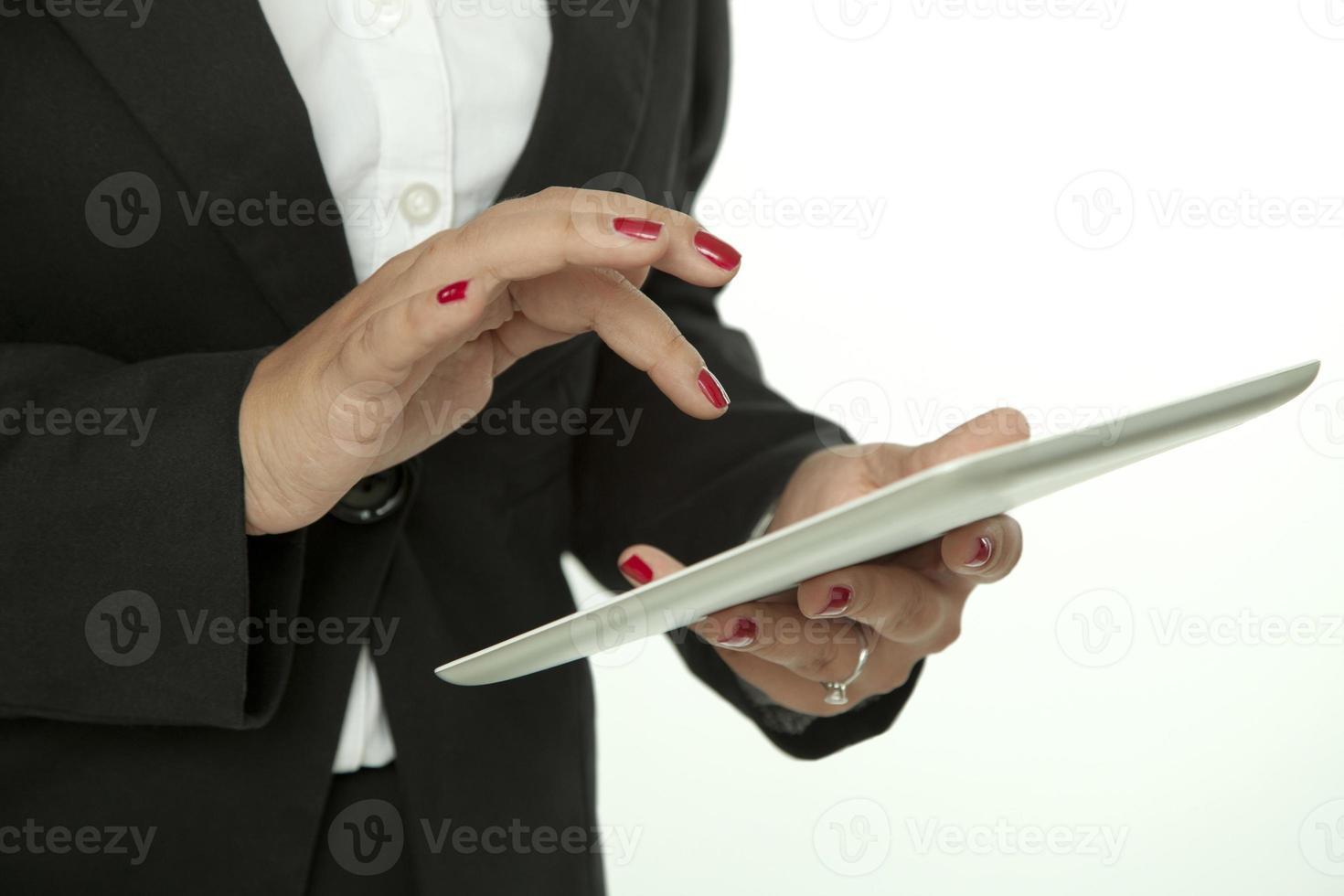 digitales Tablet und Geschäftsfrau foto