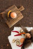 Hühner- und Wachteleier. Osterfrühstück