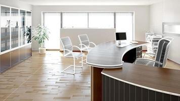 3D-Innenwiedergabe eines modernen Büros foto