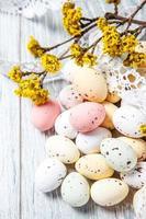 Ostereier mit einem blühenden Frühlingszweig
