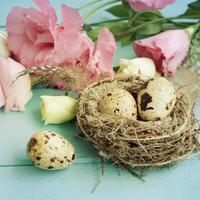 Strauß Eustoma Blumen, Ostern foto