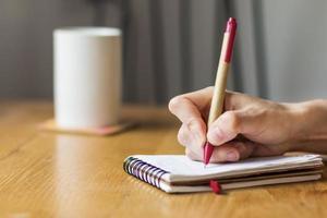 Frau arbeitet mit Tagebuch foto