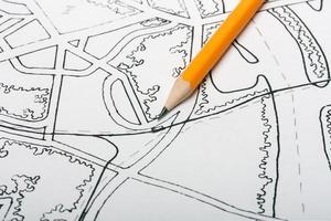 Bleistift zum Zeichnen der Karte