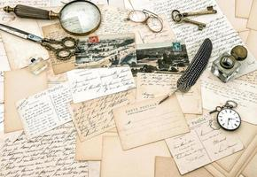 alte handgeschriebene französische Briefe und Postkarten, Vintage Büro gem