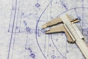 sehr detaillierte Blaupause für den Maschinenbau mit Messgerät / Bremssattel foto