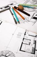 Architekturausrüstungen auf den Architekturplänen foto