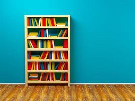 Bücherregal blaue Wand foto