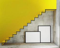 verspotten Sie Plakatrahmen im inneren Hintergrund mit Treppen foto