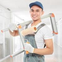 glücklicher Maler Arbeiter foto