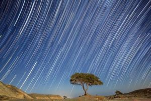 Sternspuren am Nachthimmel foto