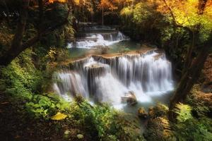 tiefer Waldwasserfalltiefer Waldwasserfall foto