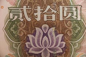 Extrem der Blume in der chinesischen Yuan-Banknote foto