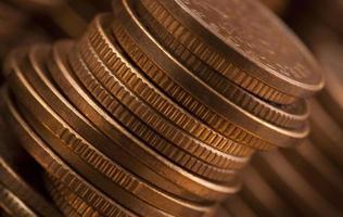 Stapel Münzen, Makroschuss foto