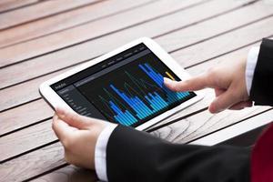 Geschäftsfrau, die Bargraphen auf digitalem Tablett analysiert foto