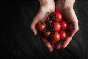 Tomatenzweig in den Händen auf dem schwarzen Steintisch foto