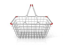 Einkaufskorb aus Stahldraht. Vorderansicht foto