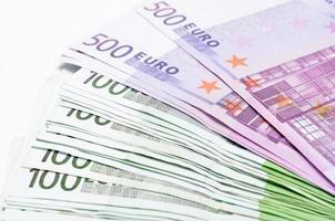 Stapel Geld Euro-Rechnungen Banknoten. Euro-Währung aus Europa foto