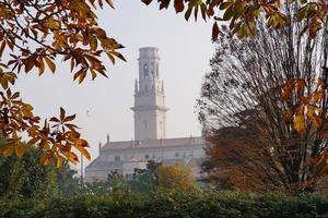 der Turm und das Fenster zwischen den Zweigen der Bäume foto