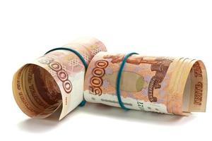 Rolle russisches Geld mit Gummiband foto