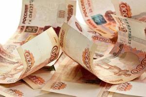 Hintergrund der russischen Banknoten foto