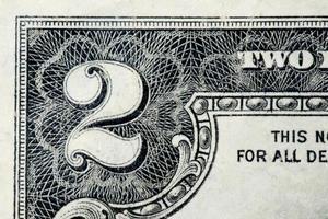 Zwei-Dollar-Schein - Nahaufnahme foto