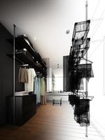 abstrakte Skizze Design des begehbaren Innenschranks foto