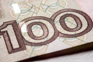 einhundert russische Rubel Rechnung, Makrofotografie foto