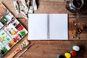 Arbeitsbereich des Künstlers. foto