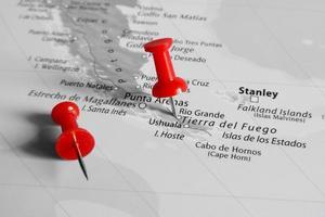 rote Markierung über Patagonien foto