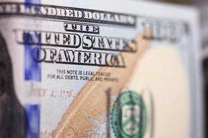 Geld Hintergrund von Dollar in Bargeld Stapel foto