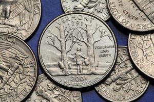 Münzen der USA. uns 50 Staatsviertel foto