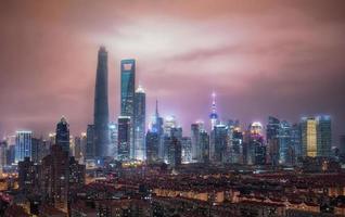 Shanghai Skyline Nacht foto