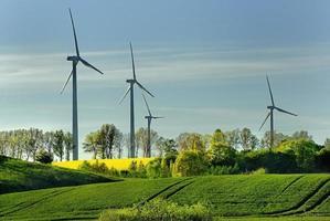 Windmühle, Gruppe ausgerichteter Windmühlen zur Alternative zur Stromerzeugung foto