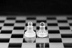 Schachfigur, Geschäftskonzeptstrategie, Führung, Team und Erfolg foto