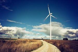 Windmühlen auf dem Feld. foto