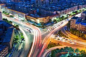Luftaufnahme der Stadtnacht foto