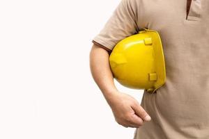 selbstbewusster Vorarbeiter auf weißem Hintergrund foto