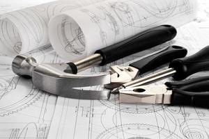 Zeichnungen und Werkzeuge foto