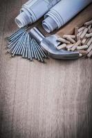Konstruktionszeichnungen Hammer Holzbearbeitungsdübel und Edelstahl na foto