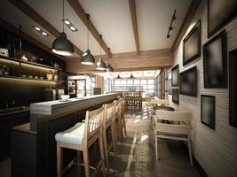 3D-Rendering des Coffeeshops, 3Dwire-Rahmenrender foto