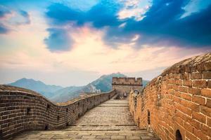 die große Mauer in der Abenddämmerung foto