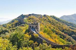die große Mauer in Mutianyu in der Nähe von Peking, China foto