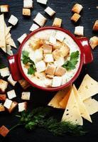 Käsesuppe mit Croutons in rot portioniertem Topf foto