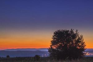 Venus, Jupiter und Quecksilber bei Sonnenuntergang