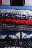 Handarbeit Textur Wolle Pullover Stricken foto