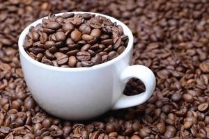 Tasse mit Kaffeekörnern auf einem Kaffeebohnenhintergrund