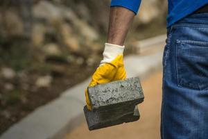 Straßenbau und Arbeiter foto